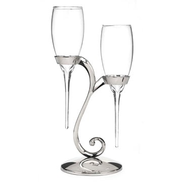 Raindrop Wedding Toasting Flutes Set of 2 with Swirl Stand