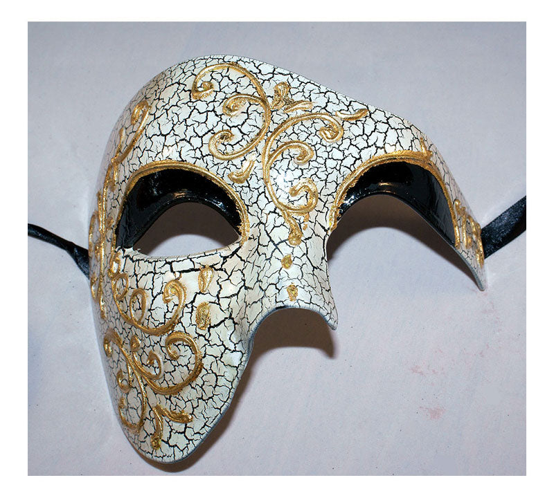 Gold Phantom of the Opera Mask with Black Eyelid Vintage Masquerade Masks