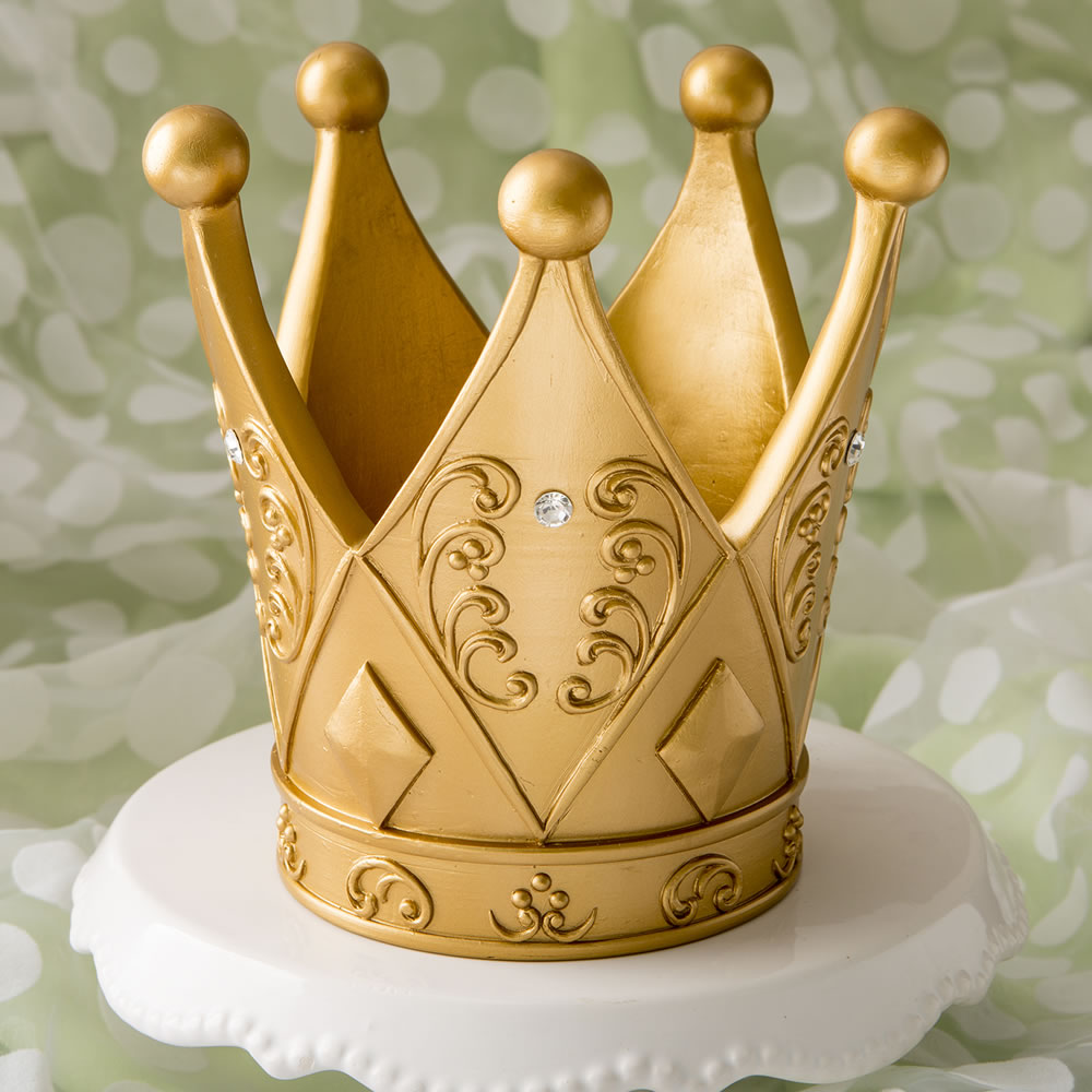 Ornate Crown Themed Gold Cake Topper Centerpiece