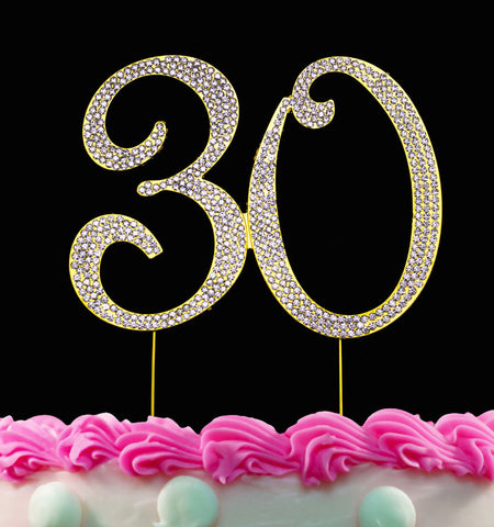 30th Birthday Cake Toppers Bling Crystal Topper 30 Anniversary Cake Toppers