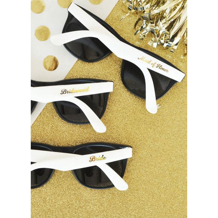 Black and White Bridal Party Sunglasses Set of 6