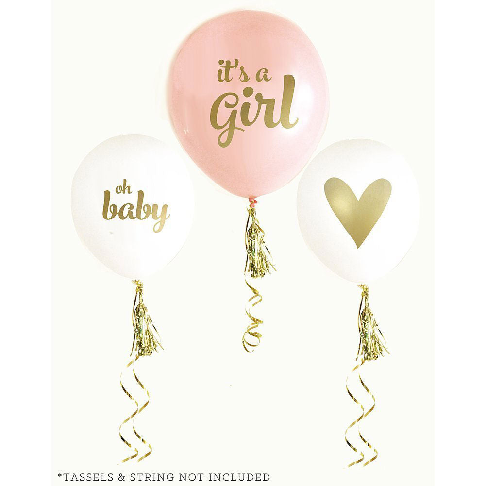 Baby Shower Balloons Set of 3 Gold Printed Balloons