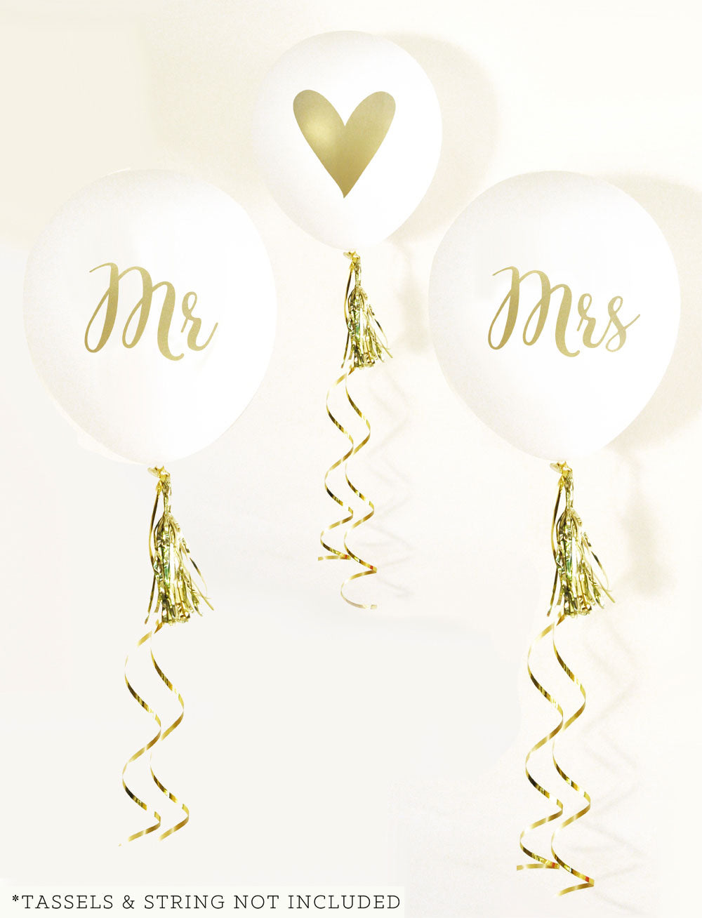 Mr and Mrs Party Balloons Set of 3 Gold Printed Wedding Balloons