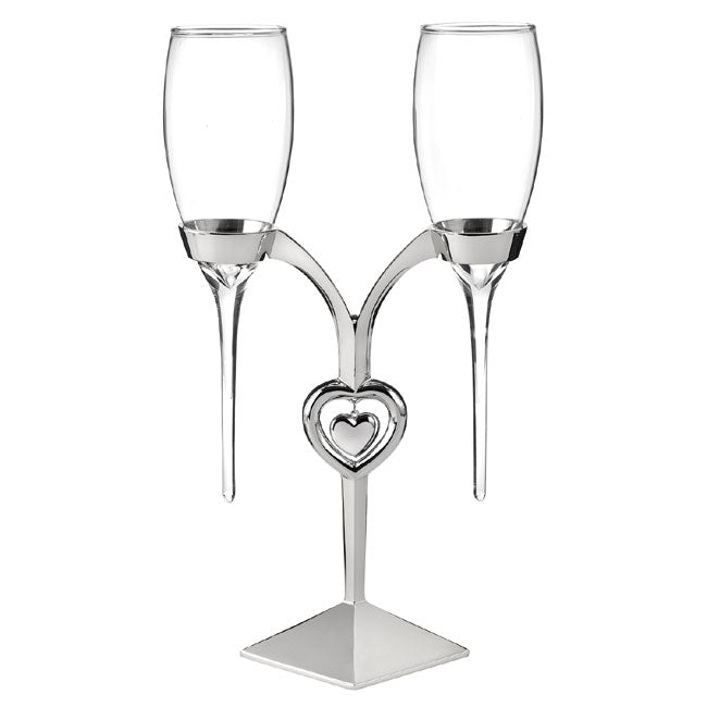 Raindrop Wedding Toasting Flutes Set of 2 and Silver Holder