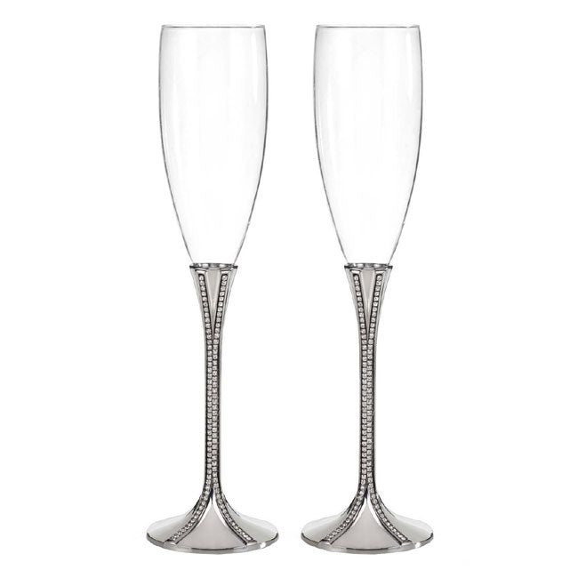 Zippered Elegance Wedding Toasting Flutes Set of 2