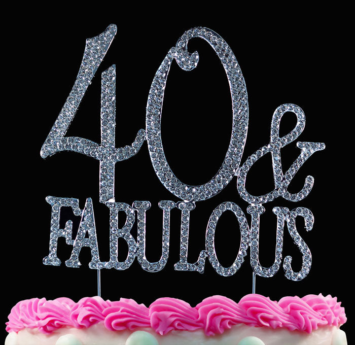 40th Birthday Cake Topper 40 and Fabulous Bling Cake Topper