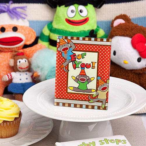Cheery sock monkey picture place card frames