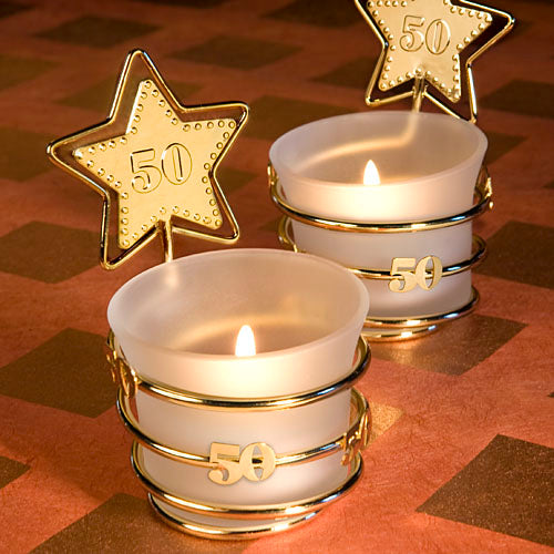 50th Wedding Anniversary Candle Favors Gold Star Design