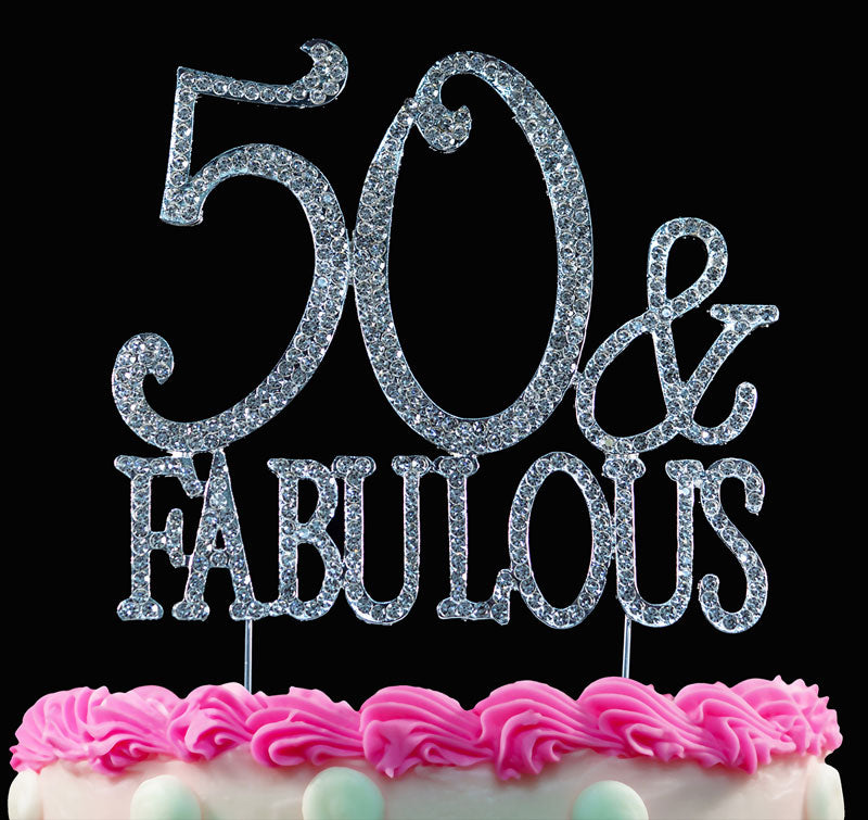 50th Birthday Cake Topper 50 and Fabulous Crystal Bling Caketop Silver or Gold
