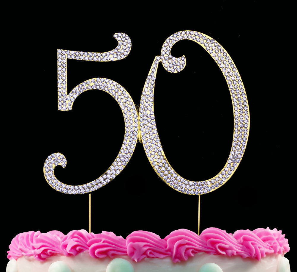 50th Birthday Cake Topper Bling Cake Topper 50 Anniversary Cake Topper Silver or Gold