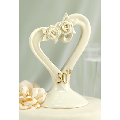50th Wedding Anniversary Cake Toppers Pearl Rose Porcelain
