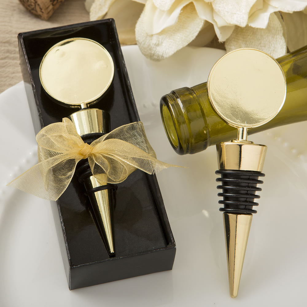 Gold Metal wine bottle stopper with a gold Metal Round top
