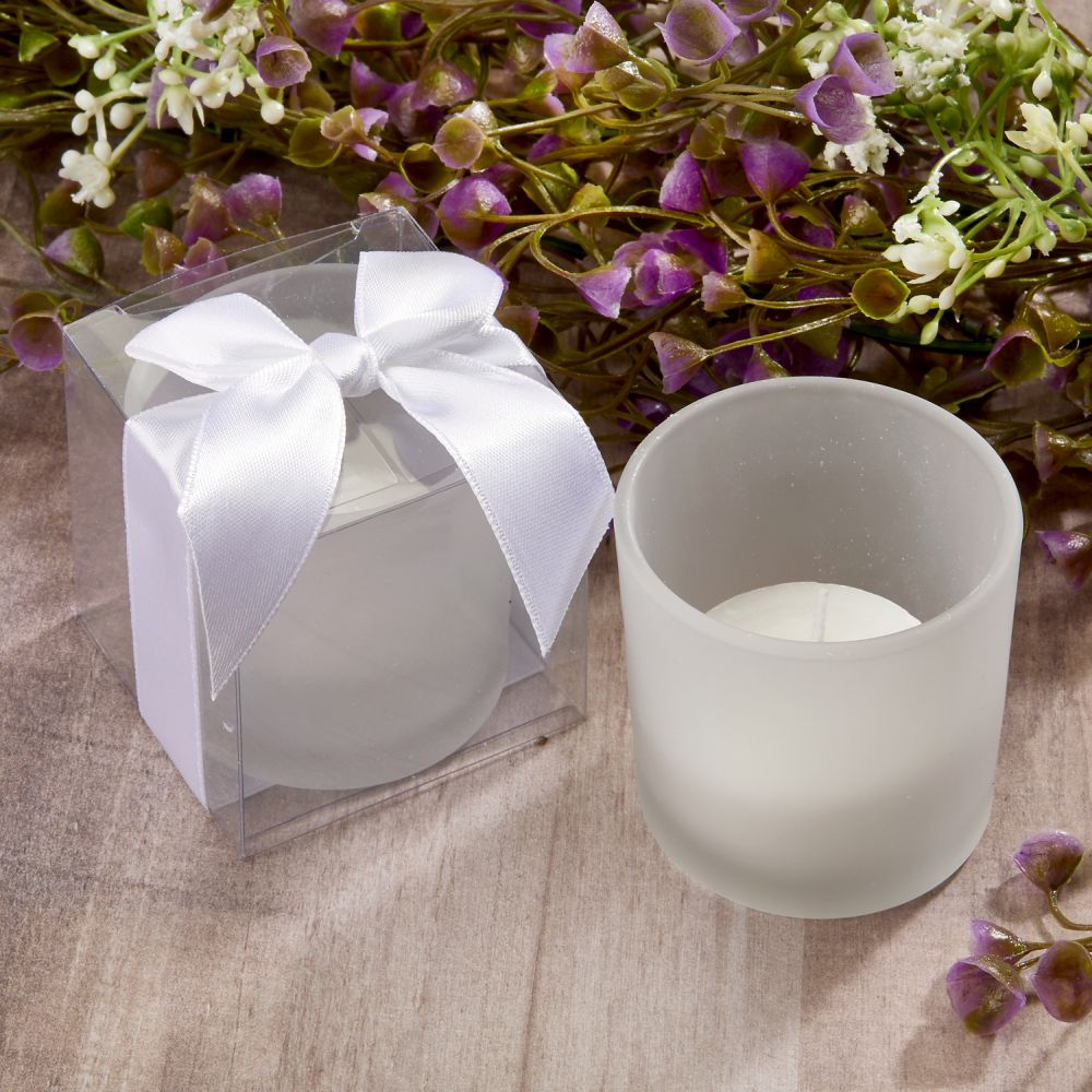 Frosted Glass Candle Holders with Candle and Satin Bows Favors