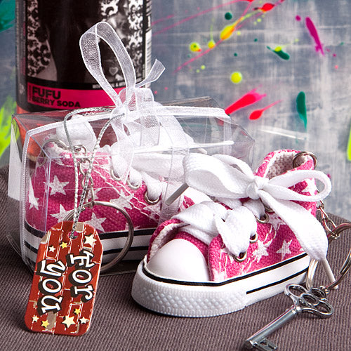 Oh-so-cute Pink Star Print Baby Sneaker Keychain
