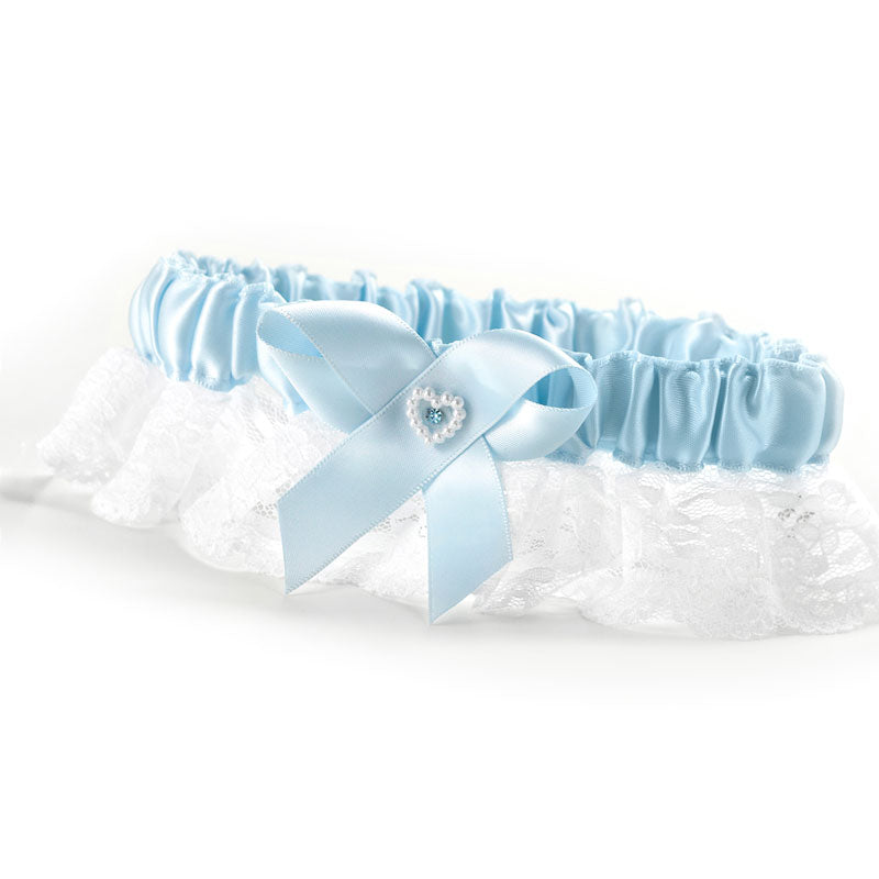 Blue Double Heart Garter Wide Lace