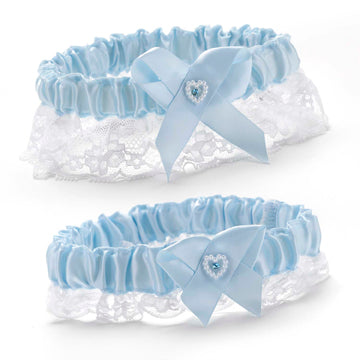 Blue Heart Bridal Garter Set