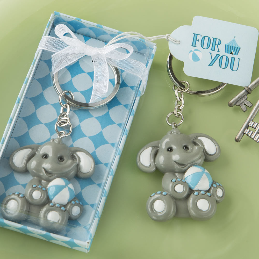 Adorable baby elephant with blue design key chains Pack of 12