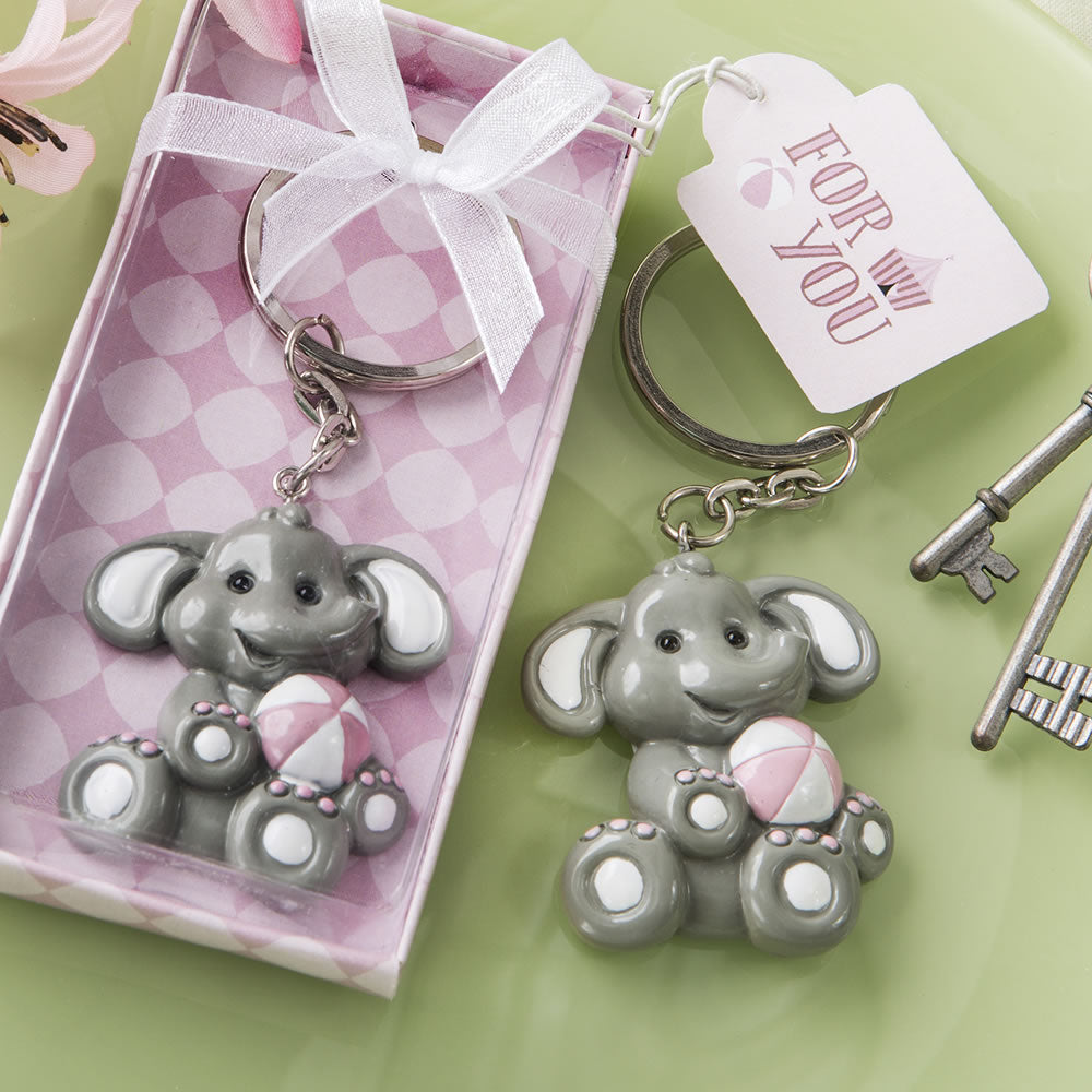 Baby Shower Favors baby elephant with pink design key chains pack of 12