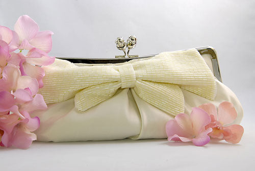 Satin Clutch Purse with Beaded Bow ( 3 Colors )