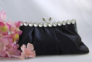 Satin Bridal Purse with Crystals and Clasp ( 8 Colors )