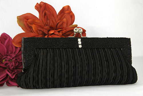 Satin Clutch Purse with Bugle Bead Trim ( 4 colors)