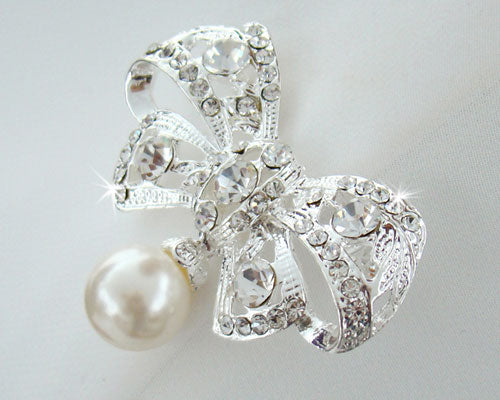 Crystal & Pearl Bow Bridal Brooch or Hair Comb