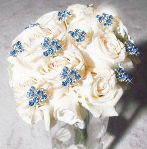 Light Blue Crystal Swirl Bouquet Jewels  (Set of 2)