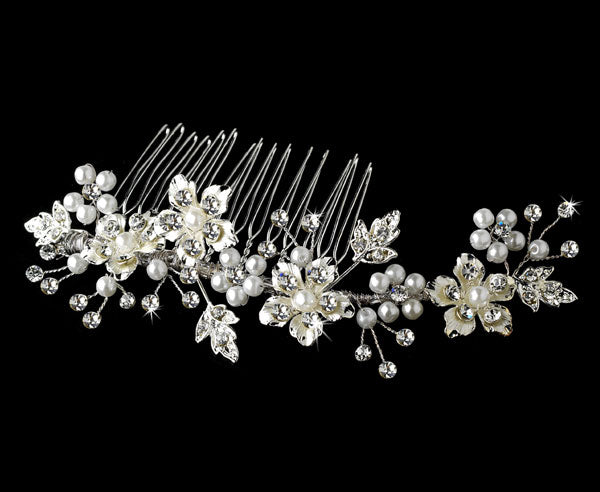 Elegant Pearl Bridal Hair Comb Silver or Gold