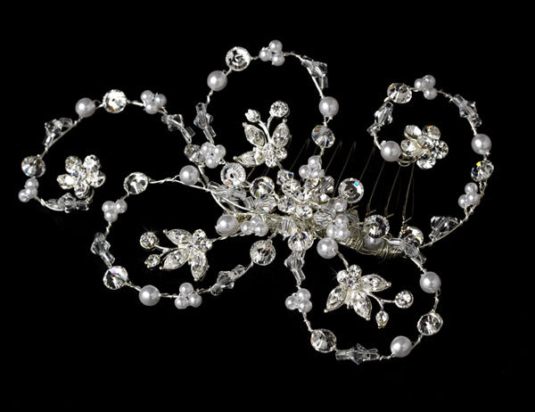Elegant Pearl & Crystal Hair Accent Bridal Comb