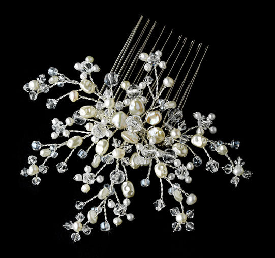 Elegant Ivory Crystal Pearl Flower Bridal Hair Comb