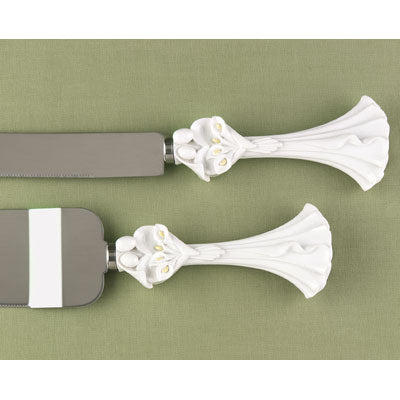Bride and Groom Calla Lily Wedding Couple Cake Knife and Server