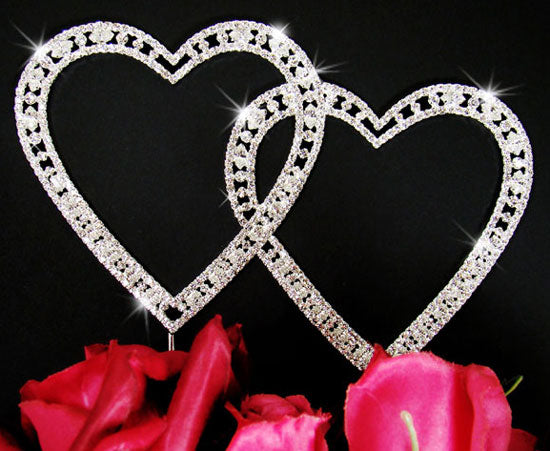 Large Crystal Double Heart Vintage Style Wedding Cake Topper