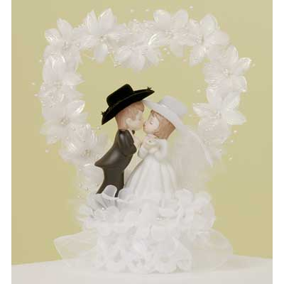 Wedding Cake Topper Kissing Western Bride and Groom Toppers