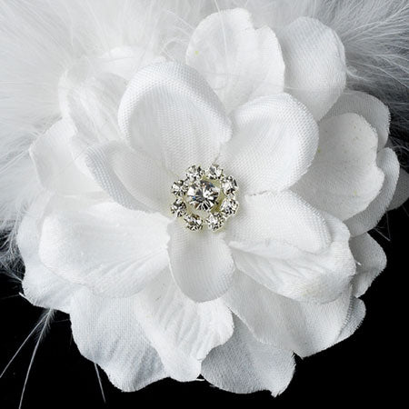 Petite Flower Feather Fascinator Bridal Hair Clip
