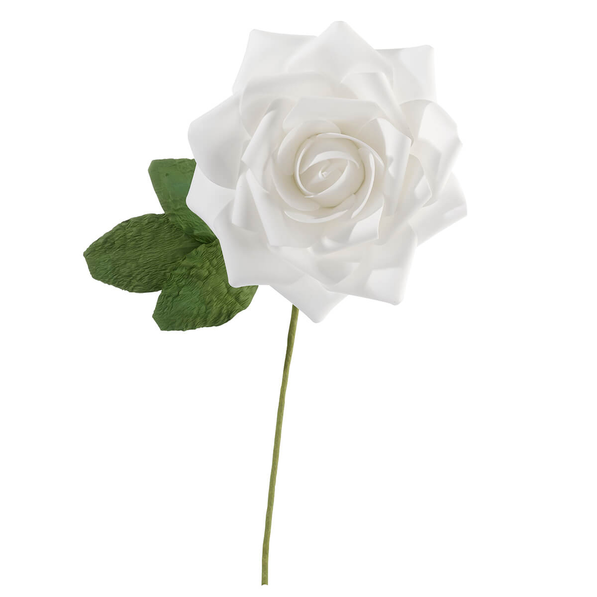 "10"" White Stemmed Rose Decoration"