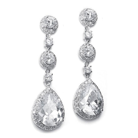 Best Selling Pear-Shaped Drop Bridal Earrings with Pave CZ