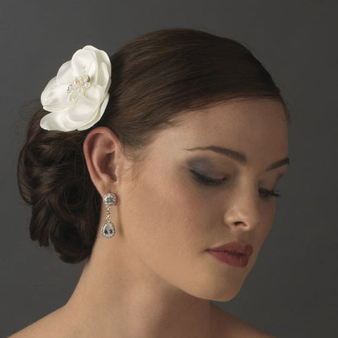 Bridal Hair Comb Silky Matt Satin Flower (White or Ivory)