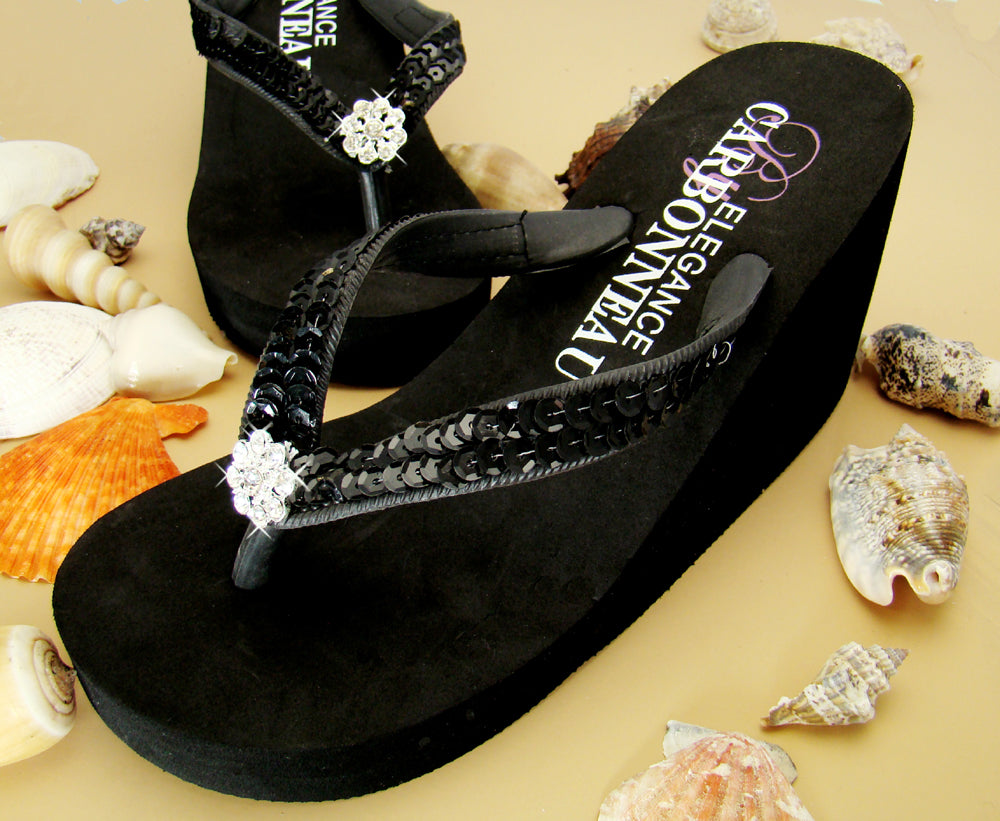 High Wedge Bridal Flip Flops with Sequins and Crystals BLACK