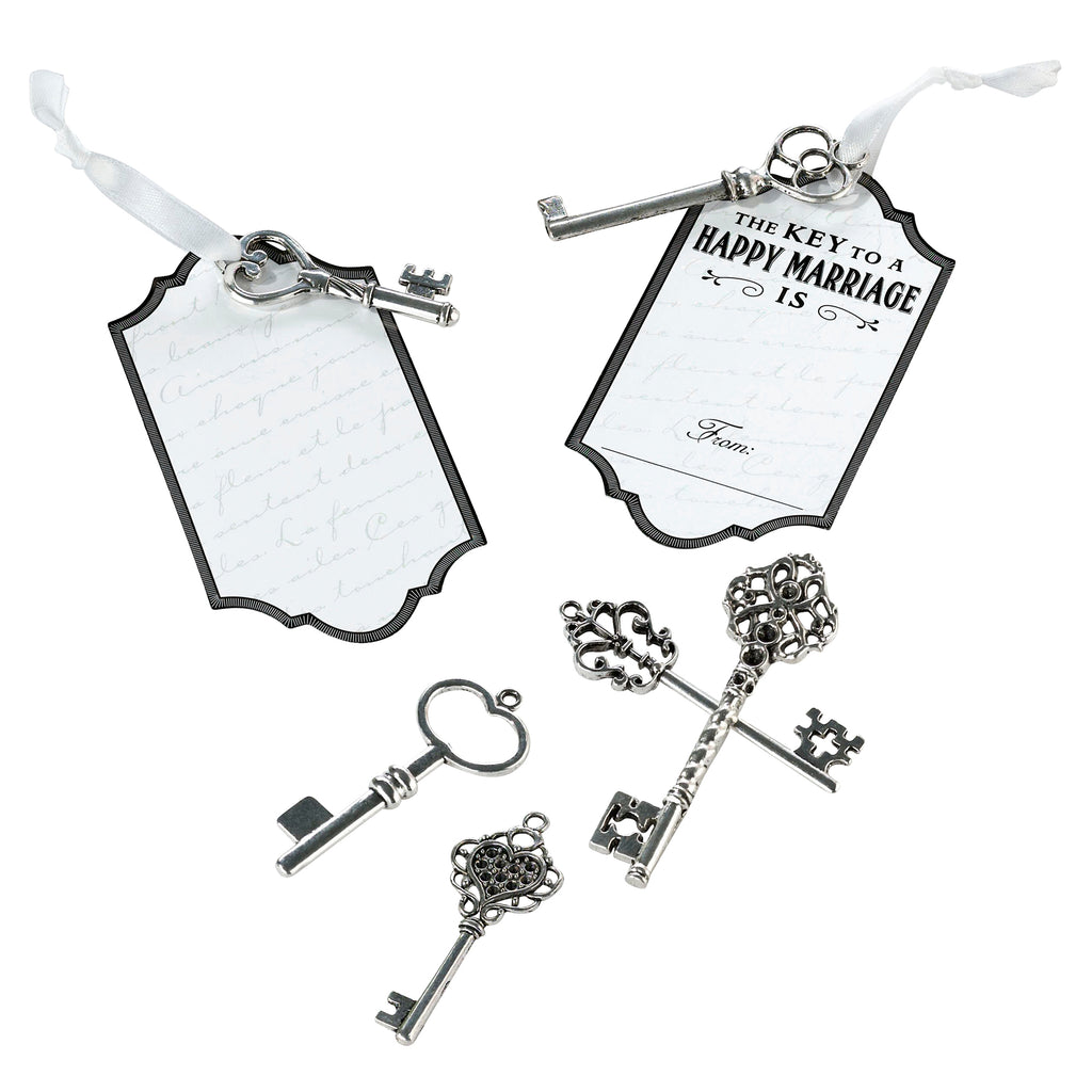 Silver Key Tags for Guest Signing 24 keys and 24 tags with ribbons
