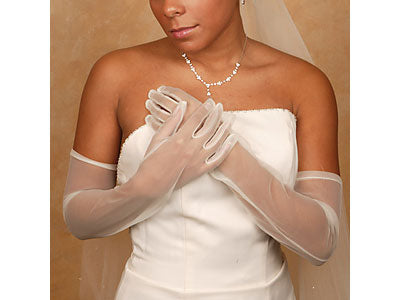 Sheer Full Finger Above Elbow Bridal Gloves (White or Black)
