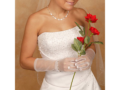 Bridal Gloves - Wrist Length Sheer Gloves
