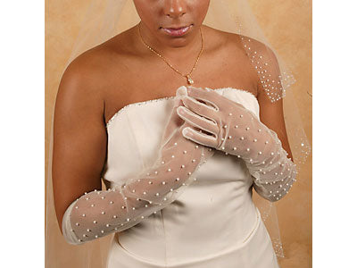 Bridal Gloves Sheer Bridal Gloves with Scattered Pearls