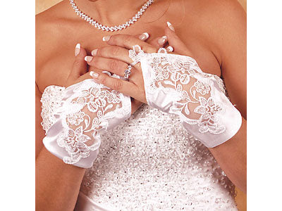 Bridal Gloves Satin Fingerless Wrist Length Gloves (White or Ivory)