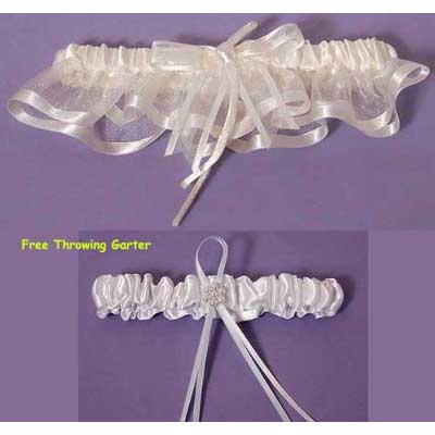 Simple Elegant Bridal Garter Set (White or Ivory)