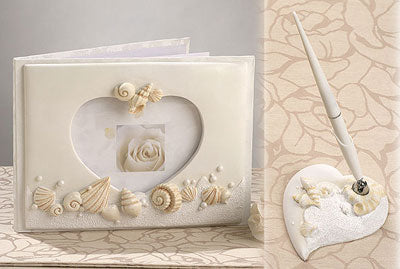Beach Theme Wedding Guest Book and Pen Set