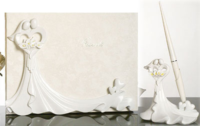 Bride and Groom Calla Lily Wedding Guest Book and Pen Set