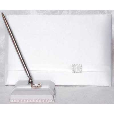 Beverly Clark Glamour Wedding Guest Book and Pen Set White/Ivory