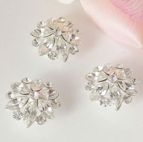 Silver Clear Stones Floral Hair Accents Twist Ins - Set of 2