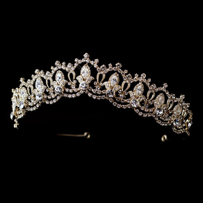 Clear Rhinestone Royal Tiara Bridal Headpiece Silver or Gold