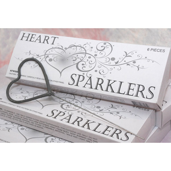 Heart Shaped Wedding Sparklers - Pack of 6